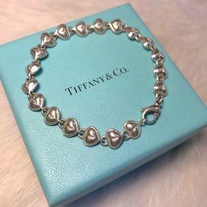 RARE Tiffany&Co Heart Lock Bubble Bracelet Silver